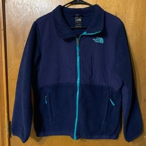 North face jacket girls xl 18 dark blue teal